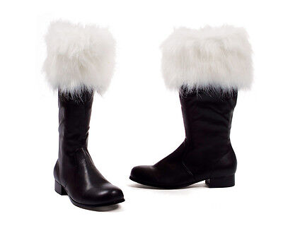 Santa Claus St. Nick Black Costume Boots with White Fur Trim Holiday 8 9 12 13