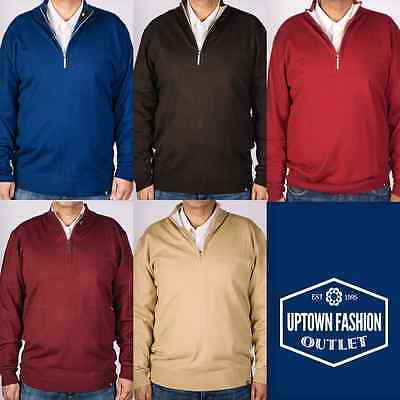 Men's New Stacy Adams Solid Colors Half Zip Mock Neck Pullover Sweater M-3XL
