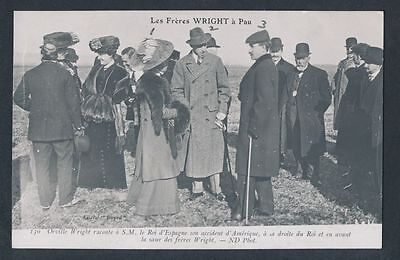 1909 ORVILLE WRIGHT (with Sister & King Alfonso) Vintage Postcard