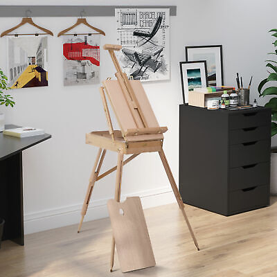 HOMCOM Folding French Artists Easel Set Portable Art Painter Tripod Sketch Wood