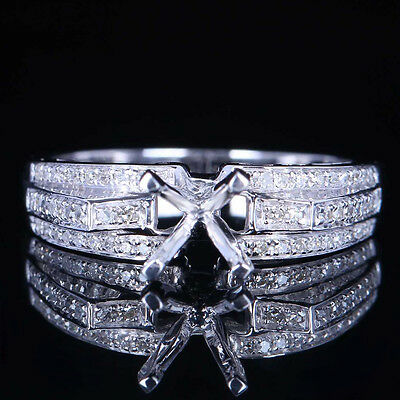 Solid 10K White Gold Accent Diamond Engagement Semi Mount Ring Setting Round 6Mm