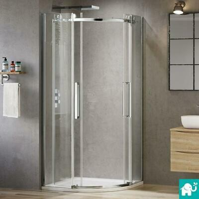 8mm Quadrant Shower Enclosure Walk In Corner Cubicle Glass Door+Stone Tray+Waste