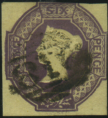 SG 60 Embossed 6d purple, fine used example on thick cartridge paper with silk t