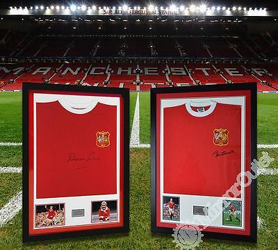 Autographed Denis Law & Sir Bobby Charlton Man Utd Twin Shirt Display