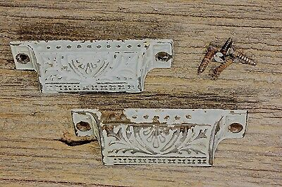 "2 old Bin Drawer Pulls handles ferns vintage primitive shabby paint 3 3/4"" iron"