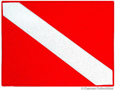 LARGE DIVER DOWN FLAG PATCH EMBROIDERED SCUBA PATCH - IRON-ON  8.5x11 inches