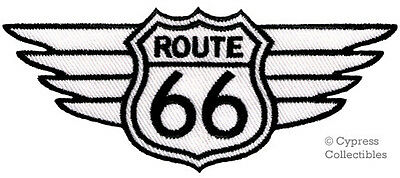 ROUTE 66 WINGS PATCH WHITE embroidered IRON-ON APPLIQUE Highway Road Sign Biker