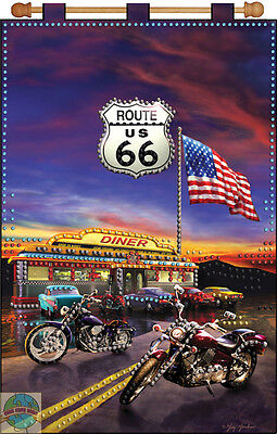 Jeweled Banner Kit ~ Design Works USA Route 66 Diner & Motorcycles #DW9655