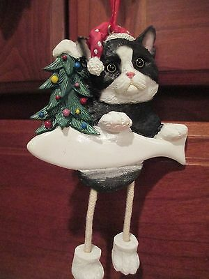 Cat ~ Black & White ~ Dangling Ornament