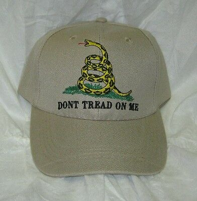 NEW - KHAKI embroidered DONT TREAD ON ME Gadsden Flag Cap / Hat