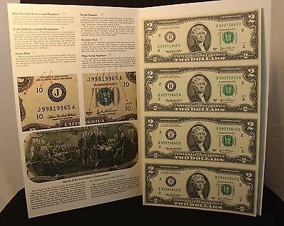 Bureau of Engraving and Print - Uncut sheet of 4 Qty - $2.00  - Series 2003A