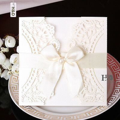 60 Ivory Wedding Invitation Cards Kit with Bowknot Custom Personalized Printing