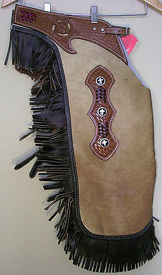 Western Horse Real Hair On Leather Cowhide Large Chinks / Chaps  Rodeo Gymkhana
