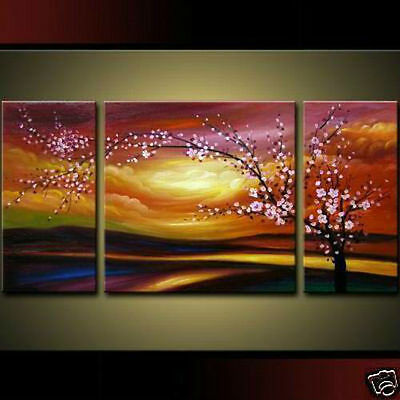 MODERN ABSTRACT WALL ART OIL PAINTING ON CANVAS:Plum flower (no framed)