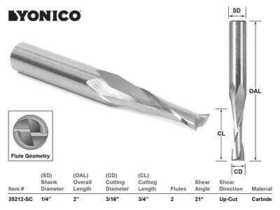 "3/16"" Dia Low Helix Upcut End Mill CNC Router Bit - 1/4"" Shank - Yonico 35212-SC"
