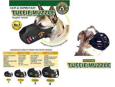 TUFFIE Dog MUZZLE Comfort Padded NO BITE EXTRA HEAVY DUTY QUICK EasyFIT TRAINING