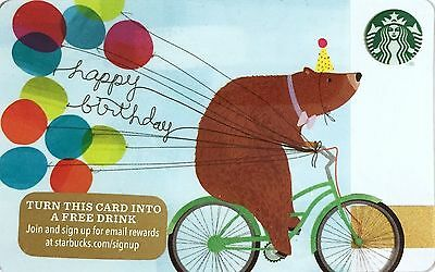STARBUCKS 2015 Limited Edition Holiday Gift Card Happy Birthday Bear On A