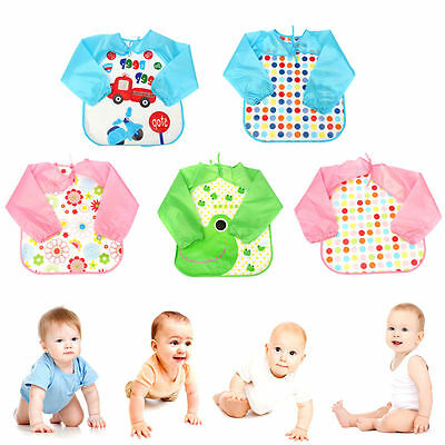 Baby Toddler Waterproof Long Sleeve Smock Children Kids Feeding Apron With Tie