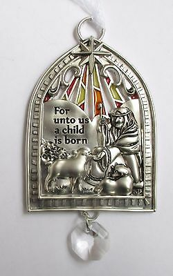 i For unto us Child is born Nativity Christmas Ornament Stained glass look Ganz