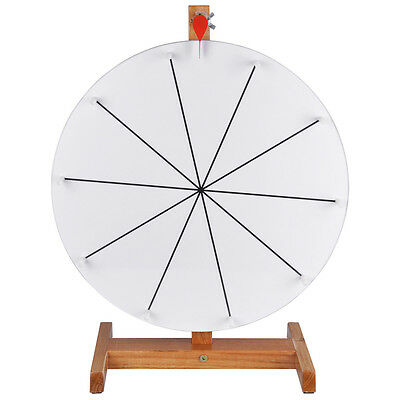 """15"""" Tabletop White Dry Erase Prize Wheel w 10 Slots Wood Stand Spinning Fortune"""