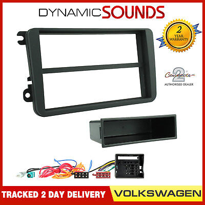 Single or Double Din Fitting Kit Adaptor Fascia Black For VW Golf Plus 2006