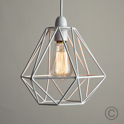 Modern White Metal Wire Frame Ceiling Light Pendant Shade Industrial Lightshade