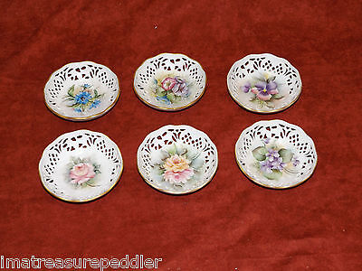 Schumann Bavaria 6 Reticulated Pierced Nut Candy Dishes Floral Patterns