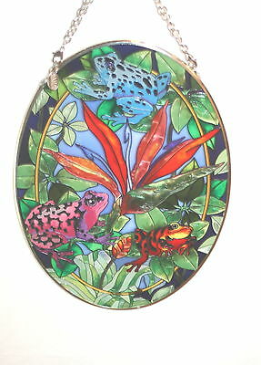 AMIA Colorful Handpainted Glass Oval Suncatcher Tree Frogs