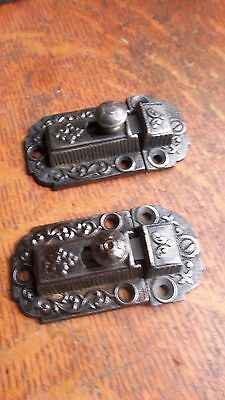 Two Matching Antique Fancy Victorian Iron Cabinet Latches Pat. 1871