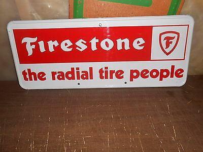 Vintage Firestone The Radial Tire People Metal Sign 25 X 10 Excellent Condition