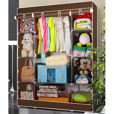 Portable Cupboard Home Cheap Shelf Shelves Carbinet Triple Canvas Wardrobe