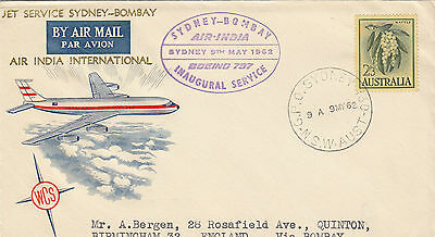 Stamp 1962 Wattle 2/3 on inaugural Australia to India WCS Bergen enhanced cover