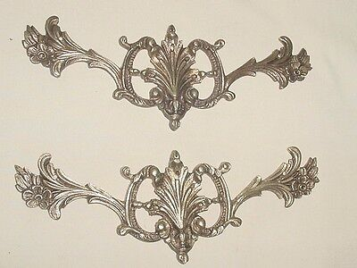"Antiq Bronze Pair Decorative Furniture Foliage & Flowers Appliques Ornaments 7"" • CAD $112.87"