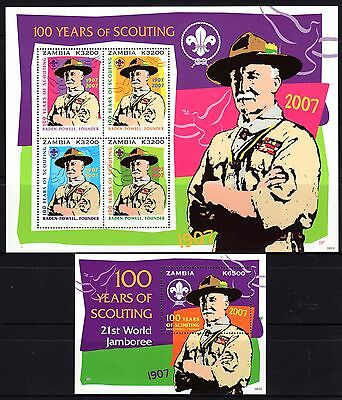 Zambia 2007 100 Years of Scouting Sheetlet 4 + M/S MNH