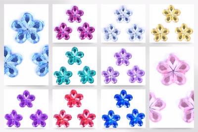 Impex Flower Stick-On Diamante Jewels - per pack of 12 (B60431-M)