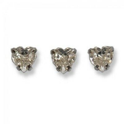 Impex Sew On Heart Shape Rhinestone Crystals  Silver - per pack of 10 (TD0207)