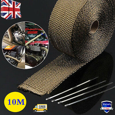 10M High Temp Titanium Heat Wrap Exhaust Manifold Downpipe + 10X30Cm Cable Ties
