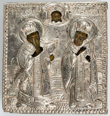 Old Antique Russian Icon of SAINTS ATHANASIUS & KIRILL, 18th c
