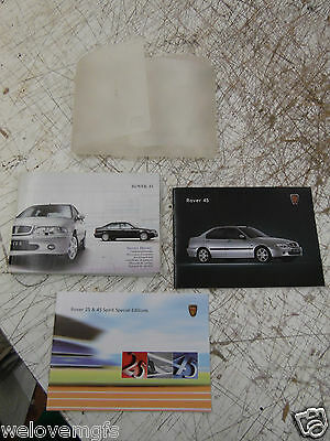 ROVER 45 MK1/2 2003 Owners Handbook / Manual Service Book & Folder as pictured