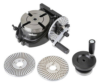 "Shop Fox 4"" Rotary Table with 3 Dividing Plates for Circular Machining M1077 New"