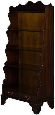 Vintage Antique Style Waterfall Bookcase Graduated Bookshelf Open w Drawers