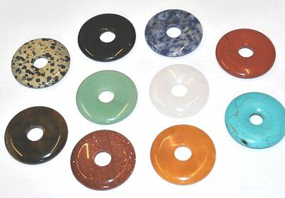 x5 ASSORTED GENUINE GEMSTONE JEWELLERY CRAFT DONUT PENDANTS CHARMS - 40mm