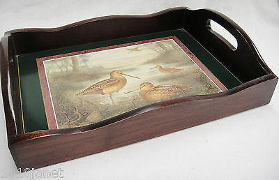 "Wooden Serving Tray Sandpipers Shorebirds Green Border 2"" Sides Beautiful"