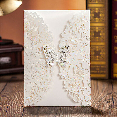 50 Sets Personlized  Butterfly Wedding Invitation Cards Lots Engagement Decor