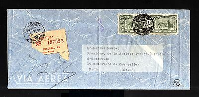 6902-URUGUAY-AIRMAIL REGISTERED COVER MONTEVIDEO to PARIS (france) 1949.WWII.