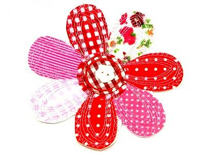 Large Flower Embroidered Iron On Motif Applique  Pink & Red - each (MI-25...