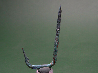 Ancient Fishing Hook Bronze Roman / Earlier 200 Bc-100 Ad