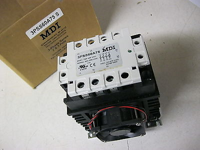MDI 3 pole Solid State Relay 75 amp 600v 3PSS60A75 S Coil 24-275 vac 24-50 vdc