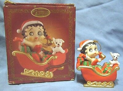 "2.5""x2.75"" Porcelain Betty Boop & Dog in Sleigh San Francisco Music Box Ornament"