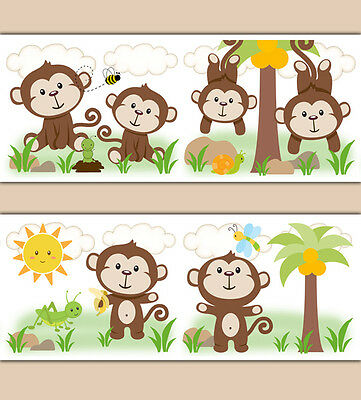 Monkey Wallpaper Border Wall Decal Jungle Safari Animal Boy Nursery Art Stickers